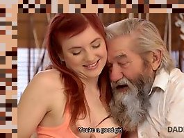 old man and redhead